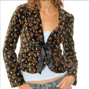 Free People Floral Print Velvet Blazer Jacket